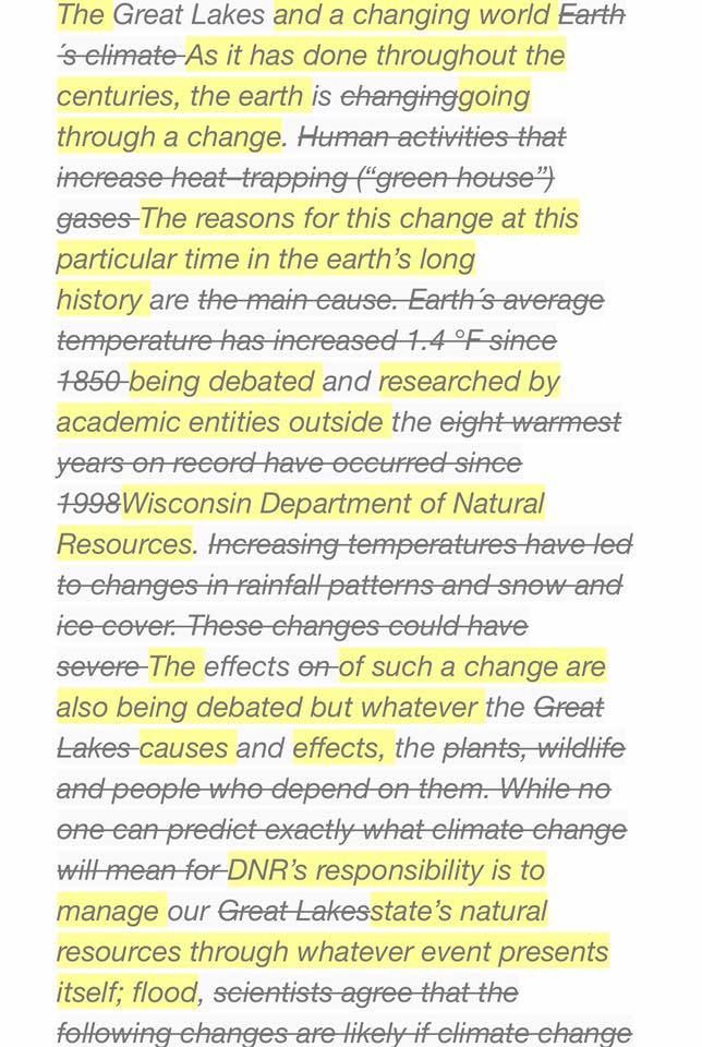 WI DNR Erases Causes of Climate Change